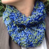 knitted scarf, cowl , snood, blue green , infinity, Christmas,infinity