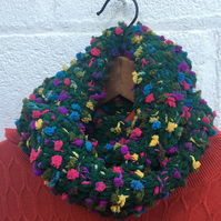 Mother's Day gift Knitted green multicoloured cowl, scarf, snood , Pom Pom