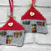 Hand knitted Hanging decoration, a pair of hand crafted hanging houses