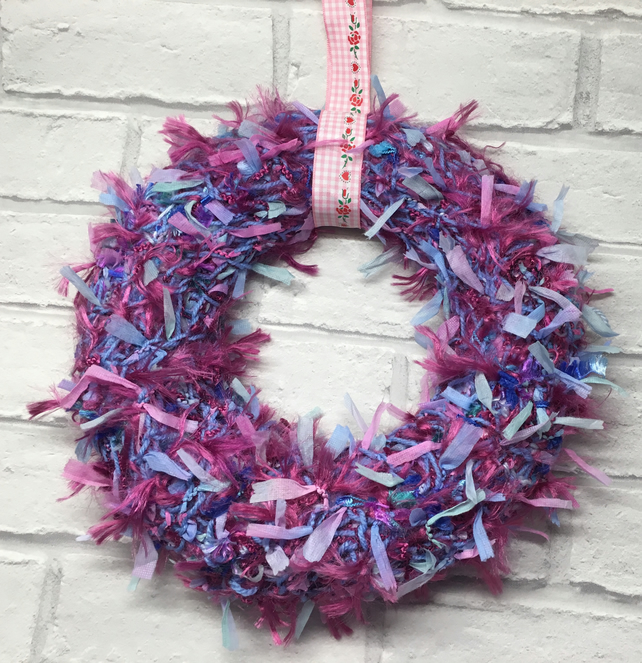 Knitted Mother's Day  wreath,  spring, Easter pink blue ribbon secret Santa