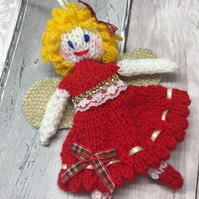 Knitted fairy, hanging decoration, christening gift,Christmas, flower fairy