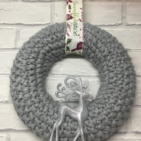 Knitted Christmas wreath, grey wool  secret Santa