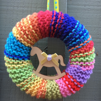 Nursery, new born, rainbow baby gift knitted wreath