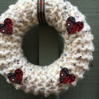 Knitted wreath, spring , Easter, chunky yarn with wooden tartan buttons