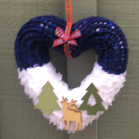 Heart wreath knitted woodland ,window hanging, wall hanging,
