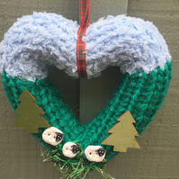 Heart wreath, knitted woodland ,window hanging, wall hanging,