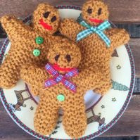 Gingerbread Christmas knitted decorations, hanging decs