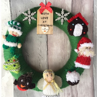 Christmas nursery gift, knitted wreath, Santa, elf, angel