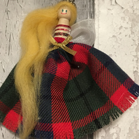 Decorative  Christmas  fairy peg doll knitted, tartan, Scottish folk art,