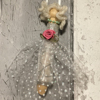 Decorative  Christmas  fairy peg doll ,Scottish folk art, fairy