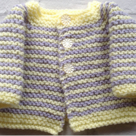 Knitted premature  baby cardigan, lemon, grey , unisex, gender neutral