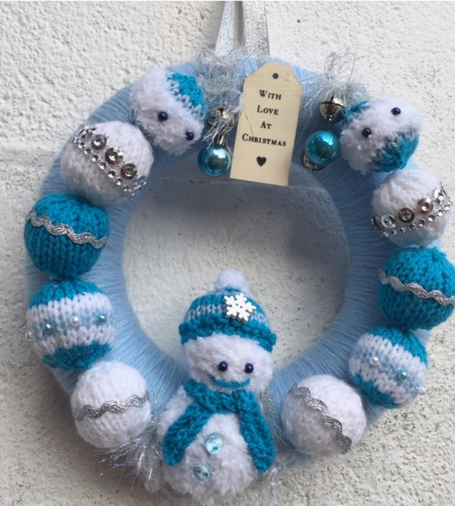 Christmas wreath,knitted, Snowman , baubles , bells blue , white and grey,