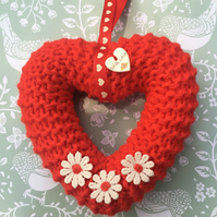 mother's Day heart  wreath red,window hanging, wall hanging,