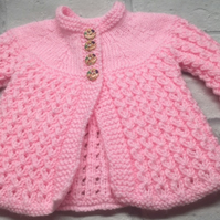 Vintage style pink baby matinee coat, cardigan