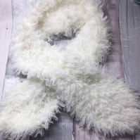 Fluffy white ladies scarf, Mother's Day , winter , cross over, key hole scarf