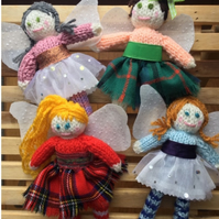 Knitted fairies, knitted, tweed,  gift for home, Scottish doll, folk art,