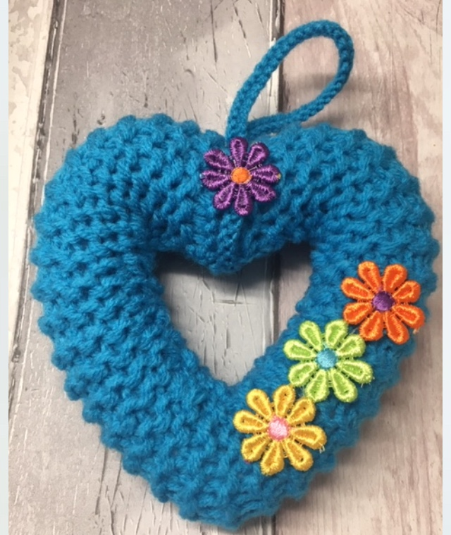Knitted heart , wreath torquoise window hanging
