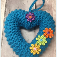 Mother's Day gift, knitted heart, wreath torquoise window hanging