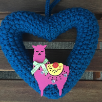 Heart wreath, llama,, wall hanging, childs bedroom