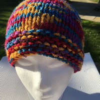 Knitted ladies beanie hat, Mother's Day gift, multicoloured hat