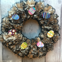 Knitted  Easter  wreath,taupe, glitzy , table decoration, candle decoration