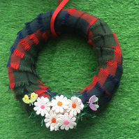 Tartan wall wreath, daisies mother's day, new home gift