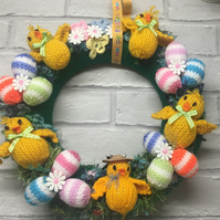 Easter wreath with chicks and eggs
