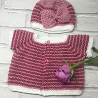 Knitted pink baby cardigan and hat, 0-3 months