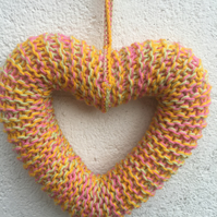 Knitted wreath, heart, hanging decoration, gift,friendship, love