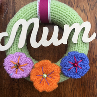 Mother's Day wreath, knitted flowers