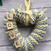 Love, knitted heart wreath, wall art, new born, baby gift, gift for a friend