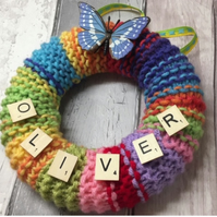 Nursery,personalised, wall art, new born, rainbow baby gift knitted wreath