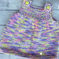 Knitted baby dress, pinafore, multicoloured, summer