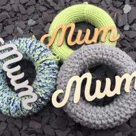 Mother's Day gift , knitted wreath with sign