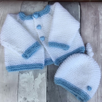 Knitted baby cardigan, blue and white new born, baby shower gift
