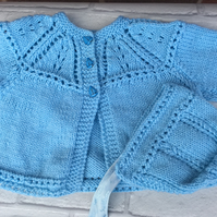 Knitted  baby matinee jacket  and bonnet