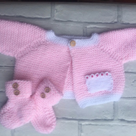 Pink baby  cardigan and bootees , knitted, with white edging 0-3 months