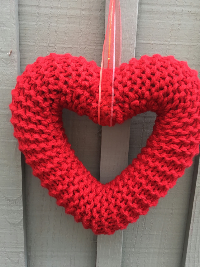 Knitted hanging  heart,wreath  friendship, funeral , gift for a friend