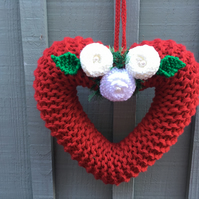 Knitted hanging  heart, friendship, funeral , gift for a friend