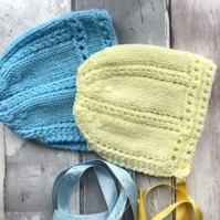 Set of two knitted baby bonnets, hat,vintage, lemon, blue