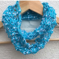 Hand knitted ladies scarf, infinity, thin skinny scarf, necklace scarf,