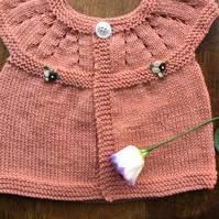 Baby  girl cardigan  vintage peach ,new born baby gift, small baby