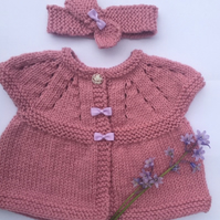 Baby  girl cardigan  pink, set, headband,new born baby gift, small baby