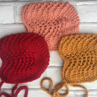 Knitted vintage style baby bonnet , red. Brown  peach