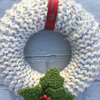 Knitted wreath, Christmas , chunky yarn with wooden tartan buttons