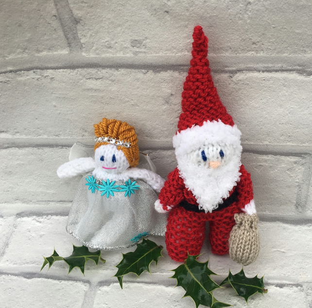 Knitted santa  and fairy set  tree decoration, hanging decoration