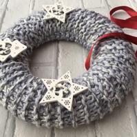 Knitted grey Christmas wreath