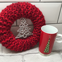 Knitted wreath, Christmas,red, cream , door hanging