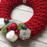 Knitted wreath, Christmas ,red chunky yarn