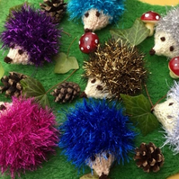 X2 knitted mini hedgehogs, glitzy Christmas